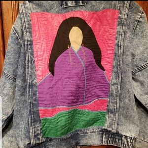 VTG Acid Wash Denim Jacket Native American ART